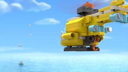 直升机空中投食,一群海鸥跟在后面