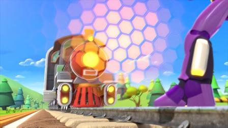 太惊险了!火车失控朝着机器人撞过来了