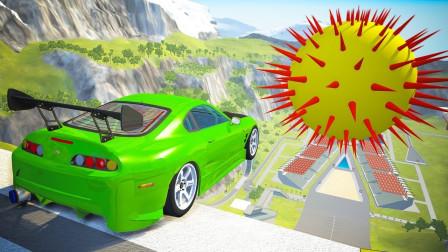 """汽车全速冲向""""巨型海胆"""",会怎样?3D下场一个比一个燃!"""
