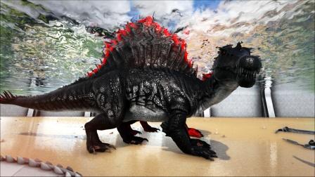 精英棘背龙、帝鳄、重爪龙水底围攻哥斯拉