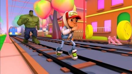 """跑酷小男孩被""""绿巨人""""猛追,碰到障碍物就撞开,简直太会玩!"""
