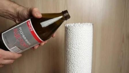 酒精倒入塑料泡沫中会怎样?下一幕太神奇,千万别眨眼!