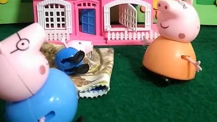 猪妈妈去做饭了, 让猪爸爸看孩子,结果猪爸爸睡着了