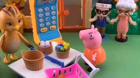 猪妈妈带乔治去超市,让乔治挑选零食,猪妈妈结完账把他落下了