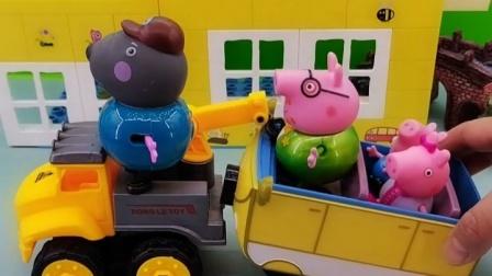 猪爸爸的汽车出故障了,狗爷爷来了,把汽车拖走就能修了