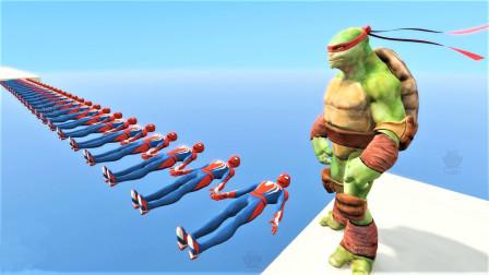 """忍者神龟能闯过""""人形独木桥""""吗?3D动画模拟,每步都很刺激!"""