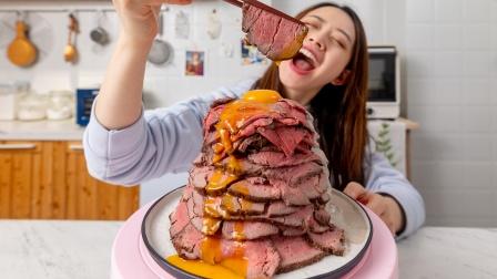 花10小时复刻爆浆火山牛肉盖饭,整条菲力堆成山,一人独享!