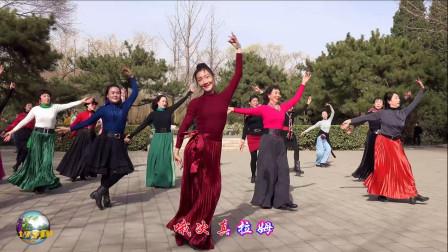 玲珑广场舞《次真拉姆》,小红老师领舞就是好看!