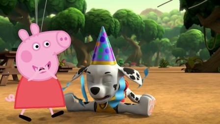 小猪佩奇取笑压破气球的汪汪队立大功毛毛