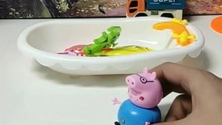 搞笑玩具:猪爸爸钓到了一条大鱼