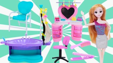 芭比娃娃玩具开箱,手工拼装公主理发店梳妆台