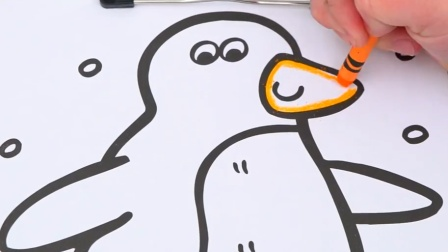 可爱的南极小企鹅儿童卡通简笔画上色游戏
