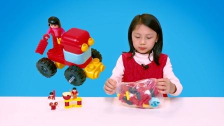 百变布鲁可积木玩具拼装兔子车、炮竹车