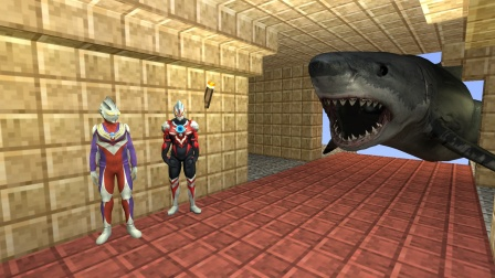 迪迦和欧布在寻宝,遇到了巨齿鲨怎么办?