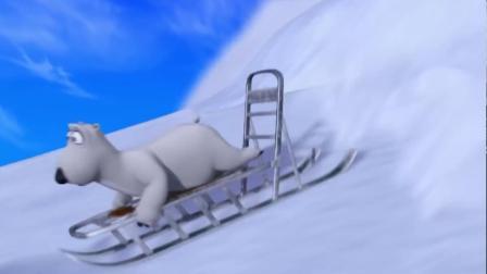 搞笑动漫:倒霉熊在滑雪的时候引发了雪崩