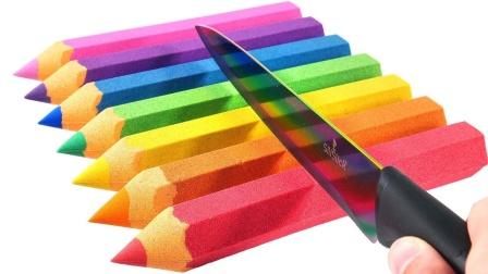 老外奇思妙想,用太空沙自制彩色铅笔,制作过程太解压了!