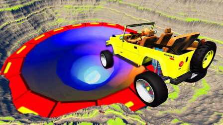 """汽车加足马力冲向""""虫洞"""",到底会怎样?刺激下场让人大开眼界!"""