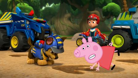 小猪佩奇和汪汪队立大功阿奇发现巨型脚印