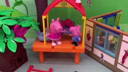 小猪佩奇不让大鳄鱼上楼,把梯子踢倒,不料佩奇乔治下不去