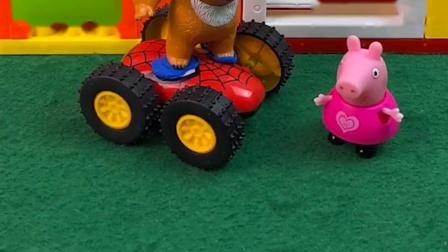 熊二滑滑板车去学校,碰见佩奇乔治,想把他们带去学校