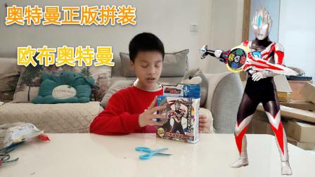 小学生拼装正版奥特曼玩具,拼出的欧布奥特曼还可以拿圣剑,真好