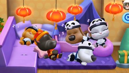 汤姆猫和朋友们游戏 熊猫家族起床后的第一顿早餐