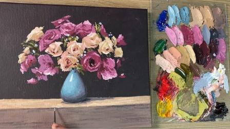 玫瑰花在春天的时候开得十分艳丽夺目,形态各异,千姿百态,花卉静物丙烯油画作品欣赏