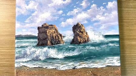 近处的浪花不时地涌上沙滩,撞击着礁石,海中礁石手绘油画作品欣赏