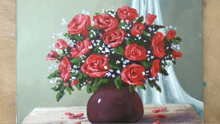 玫瑰花是爱人们的一种美好象征,大家都很喜欢,静物玫瑰丙烯油画手绘作品