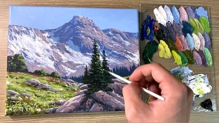 雪山绵绵长长,仿佛还流溢着袅袅的颤音,雪山风景丙烯油画作品欣赏