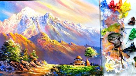 有辉煌有落魄,正正如日出日落,房子和日落大山丙烯画欣赏