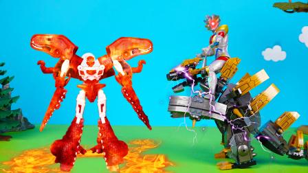 黑暗泽塔乘坐积木怪兽,对决火焰霸王龙