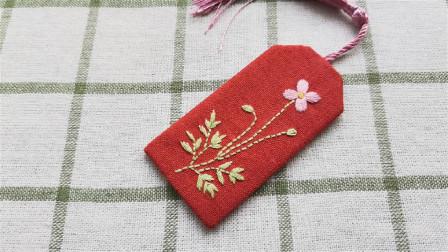 手工刺绣粉色小花,缎面绣真好用,既可绣花又可绣叶