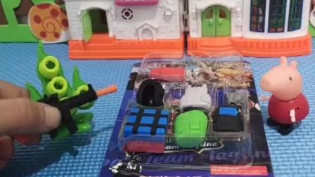 小猪佩奇回家,发现乔治的玩具被拆,佩奇帮乔治把玩具拼好