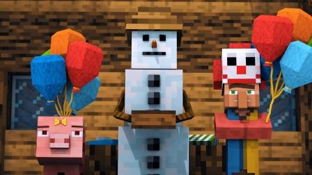 我的世界MC动画:雪人与村民的生活