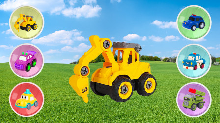 玩工程车汽车益智拼图游戏,幼儿宝宝认识形状,儿童早教启蒙动画