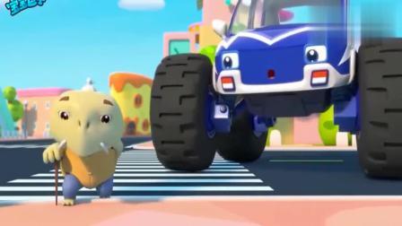 宝宝巴士:怪兽警车乐于助人,送龟爷爷过马路!