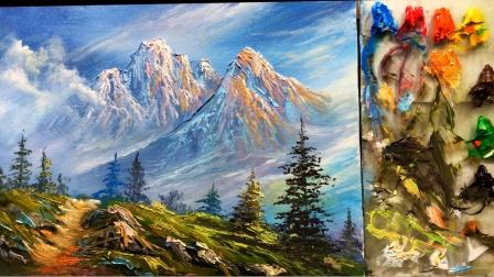 冬天好似一个童话般的世界,冬天的雪更是一个童话般的世界,简单的大山风景丙烯画欣赏