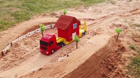 建设农场玩具,农机拖拉机玩具,大卡车拉来房子