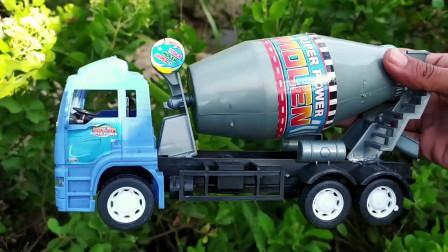 寻找小汽车玩具,大卡车大巴车和搅拌车玩具