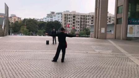 牛仔舞《小苹果》第四节背面音乐演示,王雄老师与邬彩凤老师