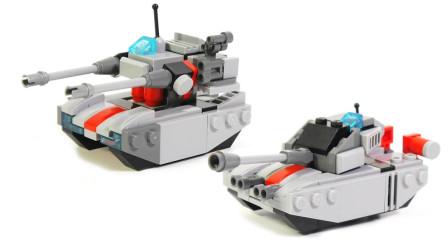 小颗粒积木拼搭酷炫坦克模型
