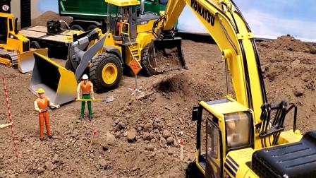 遥控工程车施工啦,装载车运输石子铺路挖掘机自卸车卡车埋管道