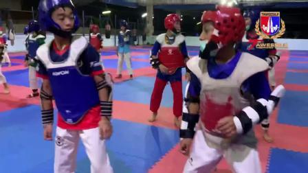 跆拳道老风格竞技训练,泰国青少年