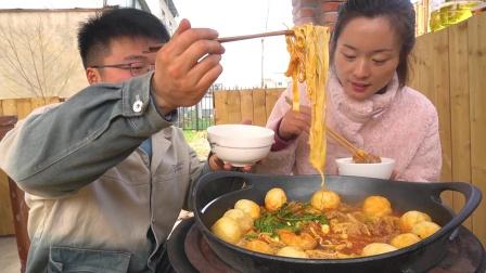 种甘蔗,吃大餐,2斤肥牛1斤五花肉做一锅捞肥牛,老婆服了