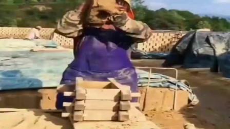 以前的时候就是这样做砖的,现在已经很少见到了!