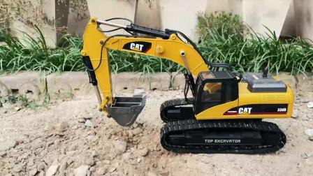演示CAT系列仿真遥控挖掘机玩具,儿童玩具