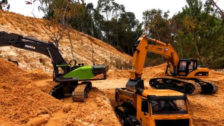 遥控工程车施工,黄色装载车和蓝色挖掘机红色卡车运输泥土铺路