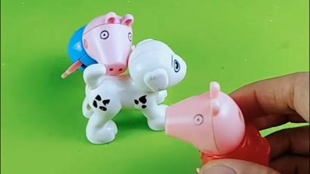 猪爷爷给小狗买了小狗,乔治不让姐姐碰,猪爸爸给佩奇做了一个小狗积木