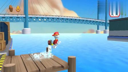 救援游戏 海上的木桥被冲断开,汪汪队毛毛借助喷水背包飞跃到对面